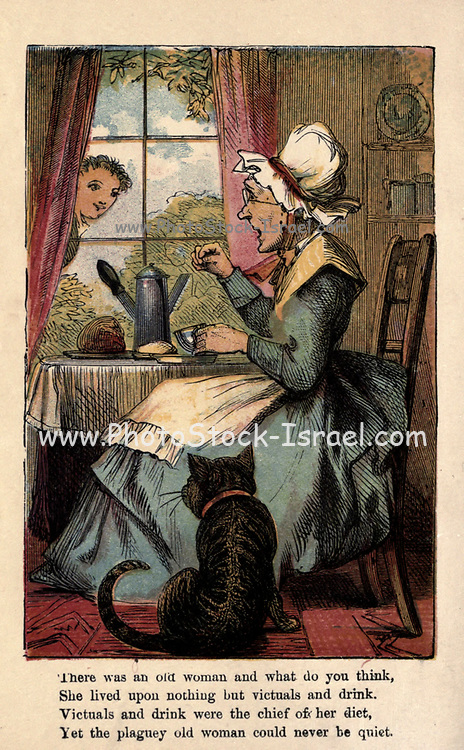 There was an old woman and what do you think, She lived upon nothing but victuals and drink. Victuals and drink were the chief of her diet, Yet the plaguey old woman could never be quiet. From the book ' A apple pie and other nursery tales : forty-eight pages of illustrations : printed in colours by Kronheim & Co ' Published by  : George Routledge and Sons 1870