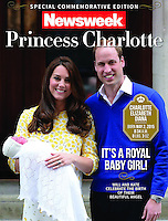 Newsweek Magazine Cover: The Duke and Duchess of Cambridge present Princess Charlotte to the World outside the Lindo Wing, St Mary's Hospital, Paddington, London, UK, on the 2nd May 2015.