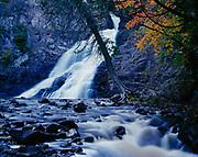 Autumn colors with Caribou Falls, Caribou River, Minnesota.