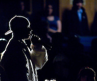 """LHS Junior, Kenny Headen, receives second place honor for his original rap version of """"Searching"""" during Laconia High School's talent contest held Thursday evening.   (Karen Bobotas/for the Laconia Daily Sun)"""