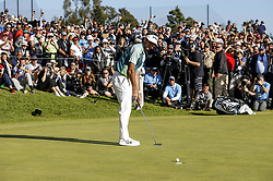 Bubba Watson finishes his final shot to the 18th hole on the final round of the PGA Tour Genesis Open golf tournament at Riviera Country Club in the Pacific Palisades area of Los Angeles, the United States Sunday, February 18, 2018. Watson won the Genesis Open. (Credit Image: © Zhao Hanrong/Xinhua via ZUMA Wire)
