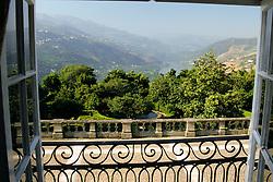 EU, Portugal, Douro, Mesao Frio. View of Douro River and vineyards from Pousada Solar da Rede (hotel).