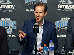 June 22, 2018 - Orlando, FL, USA - Orlando Magic president Jeff Weltman speaks during a news conference at the Amway Center in Orlando, Fla., on Friday, June 22, 2018. (Credit Image: © Stephen M. Dowell/TNS via ZUMA Wire)