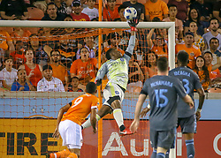 May 25, 2018 - Houston, TX, U.S. - HOUSTON, TX - MAY 25:  New York City goalkeeper Sean Johnson (1) pushes the ball away from the goal during the MLS match between the New York FC and Houston Dynamo on May 25, 2018 at BBVA Compass Stadium in Houston, Texas.  (Photo by Leslie Plaza Johnson/Icon Sportswire) (Credit Image: © Leslie Plaza Johnson/Icon SMI via ZUMA Press)