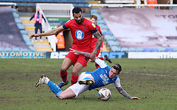 Sammie Szmodics of Peterborough United battles for the ball with Curtis Tilt of Wigan Athletic - Mandatory by-line: Joe Dent/JMP - 27/02/2021 - FOOTBALL - Weston Homes Stadium - Peterborough, England - Peterborough United v Wigan Athletic - Sky Bet League One