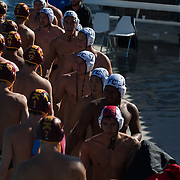 (date)(time) -- Fullerton College and Saddleback College line up after a NCAA waterpolo match during the OEC Waterpolo Championships at Saddleback colege Mission Viejo, CA  -- Photo by Colter Peterson / Sports Shooter Academy
