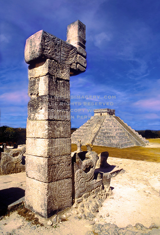 Image of the Temple of the Warriors and El Castillo at Chichen Itza on the Yucatan Peninsula in Mexico by Randy Wells