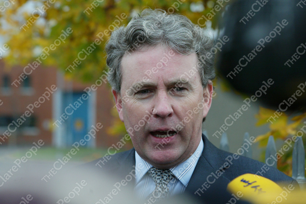 15/11/2007 (L to r) Anthony Kelly's solicitor, Eugene O'Kelly speaking to media after Anthony was found not guilty of the murder of Brian Fitzgerald during the Court case involving the fatal shooting of Limerick doorman Brian Fitzgerald at Cloverhill Court, Dublin. Photo: Gareth Chaney Collins