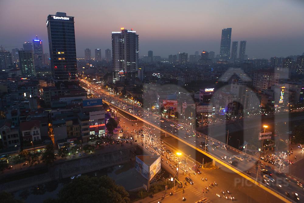 Aerial cityscape of Hanoi at night, Vietnam, Southeast Asia