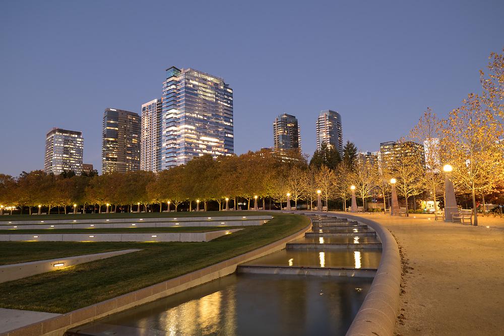 United States, Washington, Bellevue. Downtown Park and skyline.
