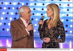 © Jean-Jacques Datchary/ABACA. 53502-5. Paris-France, November 18, 2003. Charles Aznavour and his daughter Katia at the taping of Michel Drucker's talk show Vivement Dimanche.