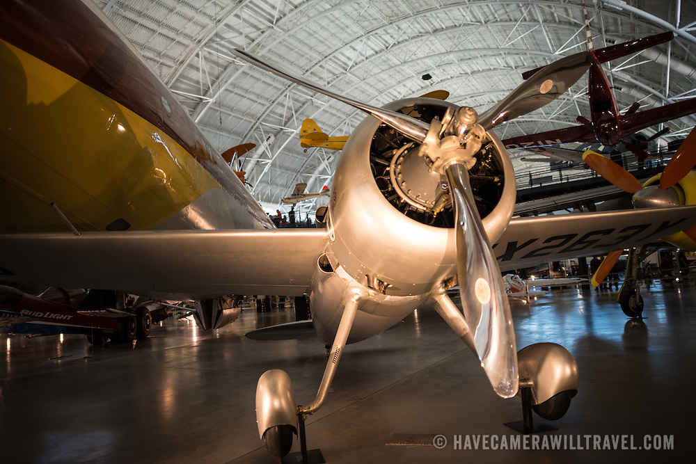 A chrome-plated propellor plane on display at the Smithsonian's National Air and Space Museum's Udvar-Hazy Center in Chantilly, Virginia, just outside Washington DC.