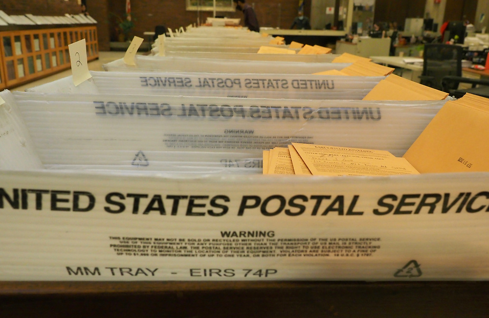 Voters in the Commonwealth of Massachusetts turned out in record numbers with absentee ballots as well as in person during early vote and on Primary Day. These ballots are organized by precincts for processing.