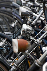 Detail of many bicycles parked in Utrecht in the Netherlands