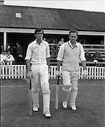 18/07/1970<br /> 07/18/1970<br /> 18 July 1970<br /> Cricket: Clontarf 1st XI v Old Belvedere, Leinster Senior Cup Final at Clontarf Cricket Club, Castle Avenue, Dublin. Old Belvedere opening batsmen, Frank O'Hanlon (left) and Kevin O'Riordan taking the field.