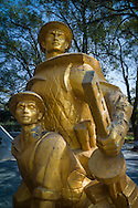 Victory statue within the Cemetery of Vietnamese Martyrs in Hill A1  'Eliane 2,' Dien Bien Phu City center, Muong Thanh Valley, Dien Bien Province, Vietnam, Southeast Asia