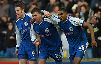 MILLWALL VS BURNLEY<br /> 28TH  FEBRUARY 2004<br /> PETER SWEENEY CELBRATES WITH NEIL HARRIS AND MARVIN ELLIOTT AFTER SCORING THE 2ND<br /> Sportsbeat Images