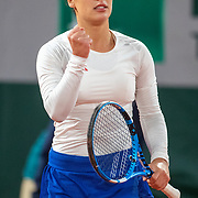 PARIS, FRANCE October 06. Martina Trevisan of Italy reacts during her match against Iga Swiatek of Poland in the Quarter Finals of the singles competition on Court Philippe-Chatrier during the French Open Tennis Tournament at Roland Garros on October 6th 2020 in Paris, France. (Photo by Tim Clayton/Corbis via Getty Images)