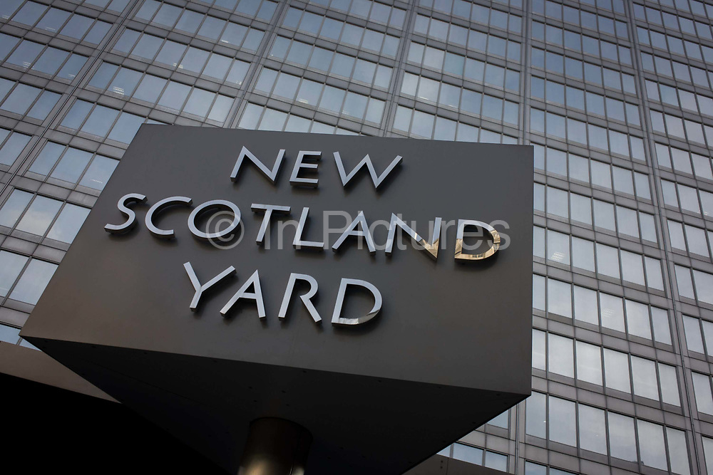 The Metropolitan Police's revolving sign their headquarters at New Scotland Yard in Westminster, London. Scotland Yard (officially New Scotland Yard, though an Old Scotland Yard has never existed) is a metonym for the headquarters of the Metropolitan Police Service, the territorial police force responsible for policing most of London. The Metropolitan Police Service employs around 31,000 officers plus about 13,000 police staff and 2,600 Police Community Support Officers (PCSOs). The Met covers an area of 620 square miles and a population of 7.2 million.