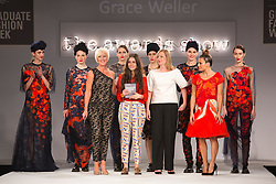 © Licensed to London News Pictures. 03/06/2014. London, England. Grace Weller from Bath Spa University not only scooped the womenswear award but also the George Gold Award. Graduate Fashion Week 2014 concludes with the awards show at the Old Truman Brewery in London, United Kingdom. Photo credit: Bettina Strenske/LNP