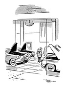 (A salesman in a car showroom yawns surrounded by the 'yawning' open bonnets of the cars on display)