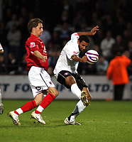 Photo: Mark Stephenson/Sportsbeat Images.<br /> Hereford United v Darlington. Coca Cola League 2. 03/11/2007.Hereford's Matt Green holds the ball up from Rob Purdie