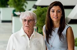 04-08-2016 BRA: Olympic Games day -2, Rio de Janeiro<br /> Bernie Ecclestone met zijn vrouw Fabiana Flosi tijdens de officiele opening van het Holland Heineken House in Ipanema voorafgaand aan de Olympische Spelen in Rio.