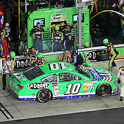 NASCAR Sprint Cup driver Danica Patrick (10) makes a pit stop during the NASCAR Coke Zero 400 Sprint series auto race at the Daytona International Speedway on Saturday, July 6, 2013 in Daytona Beach, Florida.  (AP Photo/Alex Menendez)