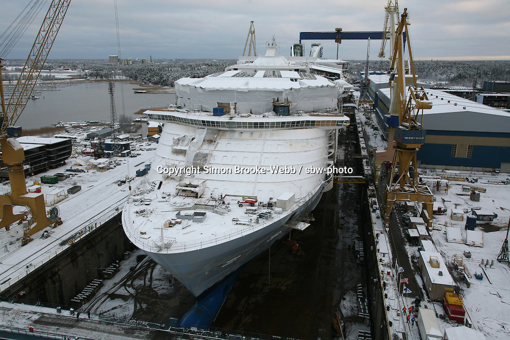 Oasis of the Seas. Float Out, Turku, Finland...Royal Caribbean's Oasis of the Seas the worlds largest cruise ship, enters final construction phase  at STX ship yard in Finland.