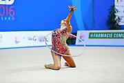 Hayakawa Sakura during qualifying at hoop in Pesaro World Cup 1 April, 2016. Sakura is a Japan rhythmic gymnastics athlete born March 17, 1997 in Osaka, Japan. She appeared in Senior competitions in the 2013 season.