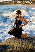 Girl in Black Dress at Aliso Viejo Beach