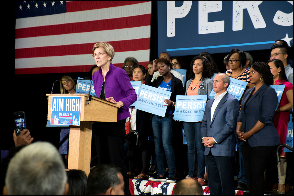 Elizabeth Warren speaks to supporters at a campaign rally on September 9, 2018 in Cambridge, MA. Warren won re-election to the U.S. Senate.