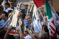 June 22, 2017 - Rome, Italy - Rome Italy June 22 Maurizio Gasparri during Several hundred people  gathered in Capitol Hill Square to protest against Mayor of Rome Virginia Raggi and  her policy after one year of the Five Star government June 22,2017 in Rome. (Credit Image: © Andrea Ronchini/NurPhoto via ZUMA Press)