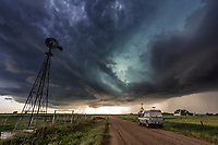 A storm chaser waits for a storm in Oklahoma, May 8, 2016.