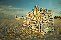 Stacked Chairs in South Beach, Miami Beach, FL, USA.