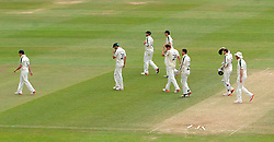 Dejection for the Nottinghamshire side after losing by 2 wickets to Somerset. - Photo mandatory by-line: Harry Trump/JMP - Mobile: 07966 386802 - 17/06/15 - SPORT - CRICKET - LVCC County Championship - Division One - Day Four - Somerset v Nottinghamshire - The County Ground, Taunton, England.