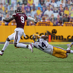 Sep 26, 2020; Baton Rouge, Louisiana, USA; Mississippi State Bulldogs wide receiver Tyrell Shavers (9) breaks loose from LSU Tigers safety Maurice Hampton Jr. (14) during the second half at Tiger Stadium. Mandatory Credit: Derick E. Hingle-USA TODAY Sports