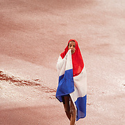TOKYO, JAPAN August 2: Sifan Hassan of The Netherlands reacts after winning the 5000m for Women during the Track and Field competition at the Olympic Stadium  at the Tokyo 2020 Summer Olympic Games on August 2nd, 2021 in Tokyo, Japan. (Photo by Tim Clayton/Corbis via Getty Images)