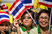 """01 AUGUST 2013 - BANGKOK, THAILAND: Thais wave the yellow flag of the Thai monarchy while they chant """"Long Live the King"""" at Siriraj Hospital before Bhumibol Adulyadej, the King of Thailand, 85, was discharged from Bangkok's Siriraj Hospital, Thursday where he has lived since September 2009. He traveled to his residence in the seaside town of Hua Hin, about two hours drive south of Bangkok, with his wife, 80-year-old Queen Sirikit, who has also been treated in the hospital for a year.      PHOTO BY JACK KURTZ"""