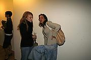 Sarah Barden and Charlie Angela, Rachel Kneebone private view. Madder Rose. Whitecross St. London EC1 22 June 2006. -DO NOT ARCHIVE-© Copyright Photograph by Dafydd Jones 66 Stockwell Park Rd. London SW9 0DA Tel 020 7733 0108 www.dafjones.com