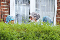 © Licensed to London News Pictures. 05/08/2019. London, UK. Forensic officers outside no 46 Waltheof Gardens in Tottenham, north London following a death of a woman. Police were called around 10:45 am on 4 August 2019 where the body of an 89-year-old woman was found. According to the police one or more suspects gained entry to the woman's house between Saturday (3 August) evening and Sunday (4 August) morning. Photo credit: Dinendra Haria/LNP