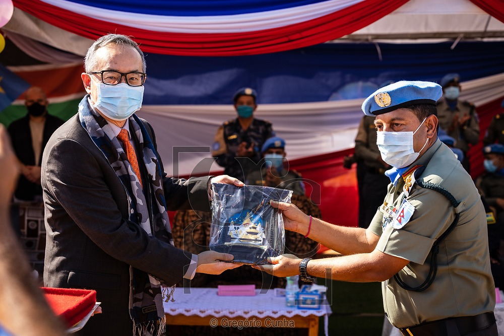 JUBA, SOUTH SUDAN- DECEMBER 23: Member of the Formed Police Unit 1 from Nepal serving with the United Nations Mission in South Sudan during a awarded UN medal ceremony in the UN House, Juba city, South Sudan, on 23 December 2020. Nepal is the world's fourth largest contributor of the uniformed personnel, currently with 5,700, to UN peacekeeping operations. <br />Photo by UN/Gregorio Cunha