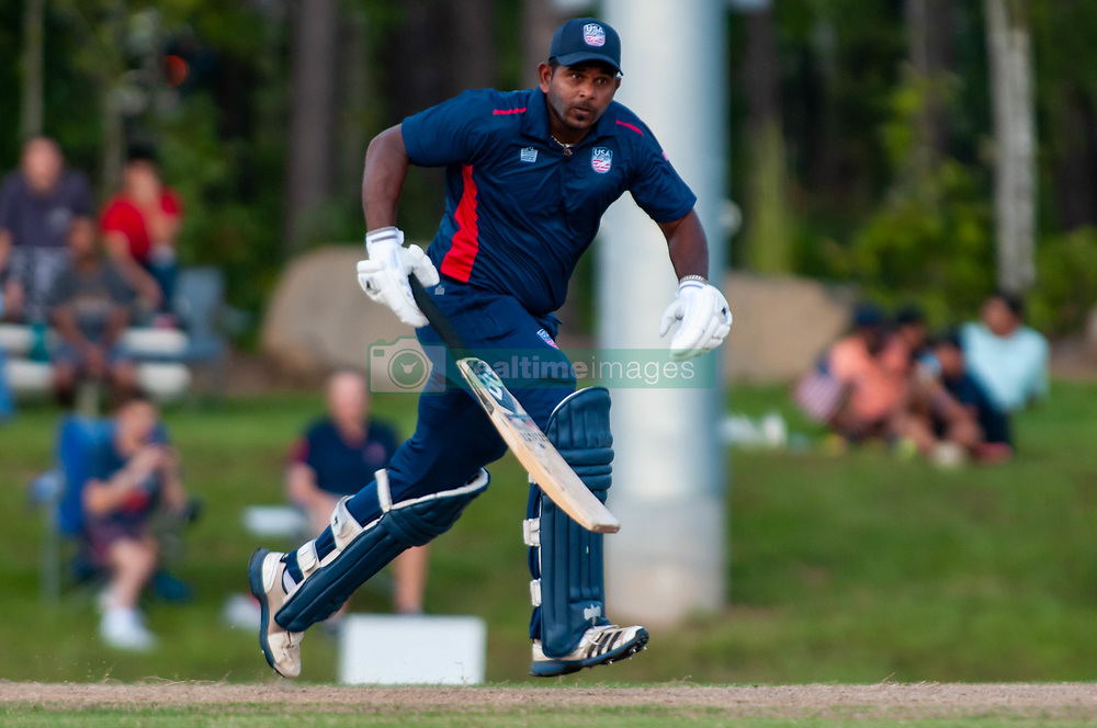September 22, 2018 - Morrisville, North Carolina, US - Sept. 22, 2018 - Morrisville N.C., USA - Team USA ROY SILVA (43) scores during the ICC World T20 America's ''A'' Qualifier cricket match between USA and Canada. Both teams played to a 140/8 tie with Canada winning the Super Over for the overall win. In addition to USA and Canada, the ICC World T20 America's ''A'' Qualifier also features Belize and Panama in the six-day tournament that ends Sept. 26. (Credit Image: © Timothy L. Hale/ZUMA Wire)