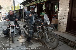 Scotty Busch (L) and Sean Lichter on the main street of Tatopani before starting out on Day-7 of our Himalayan Heroes adventure riding from Tatopani to Pokhara, Nepal. Monday, November 12, 2018. Photography ©2018 Michael Lichter.