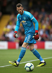 """Manchester United goalkeeper David de Gea during the Premier League match at Vicarage Road, Watford PRESS ASSOCIATION Photo. Picture date: Saturday September 15, 2018. See PA story SOCCER Watford. Photo credit should read: Nigel French/PA Wire. RESTRICTIONS: EDITORIAL USE ONLY No use with unauthorised audio, video, data, fixture lists, club/league logos or """"live"""" services. Online in-match use limited to 120 images, no video emulation. No use in betting, games or single club/league/player publications."""