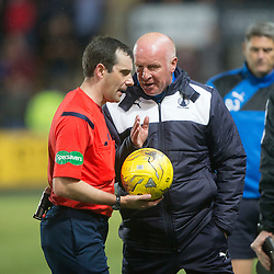 Falkirk's manager Peter Houston has words with ref Muir at half time. Falkirk 0 v 1 Hibernian, Scottish Championship game played 20/10/2015 at The Falkirk Stadium.