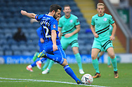 Joe Rafferty shoots during the The FA Cup 1st round match between Rochdale and Gateshead at Spotland, Rochdale, England on 10 November 2018.