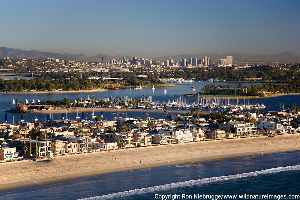 Mission Beach and Mission Bay, San Diego, California.