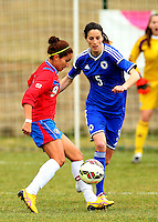 Fifa Womans World Cup Canada 2015 - Preview //<br /> Istria Cup 2015 Tournament ( Stella Maris Stadium , Umag - Croatia ) - <br /> Costarica vs Bosnia & Herzegovina 1-0  , <br /> Carolina Venegas of Costarica (Left) , challenges with Nikolina Dijakovic of Bosnia & Herzegovina (Right)
