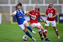 Flo Allen of Bristol City Women challenges Jamie-Lee Napier of Birmingham City Women - Mandatory by-line: Ryan Hiscott/JMP - 18/10/2020 - FOOTBALL - Twerton Park - Bath, England - Bristol City Women v Birmingham City Women - Barclays FA Women's Super League